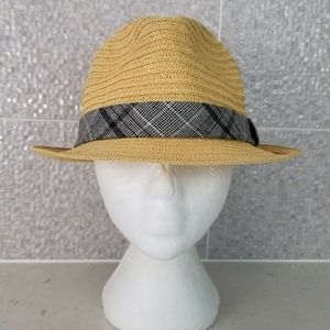 Dockers One Size Natural Straw Fedora Plaid Band